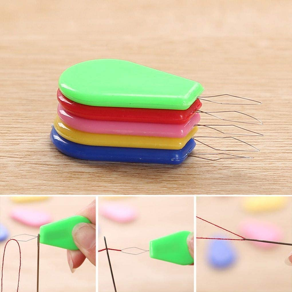 Flushzing Colorful Bow Wire Stitch Insert Machines Plastic Embroidery Needle threader Embroidery Threader for Hand Sewing