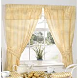 Cheap Universal Textiles Molly Gingham Check Pattern Ready Made Curtains With Valance Top (46in x 54in) (Lemon)