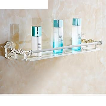 El estilo europeo pintados bastidores cuadrados de oro blanco/toalla estante plegable/Estante del almacenaje del baño del-L: Amazon.es: Bricolaje y ...