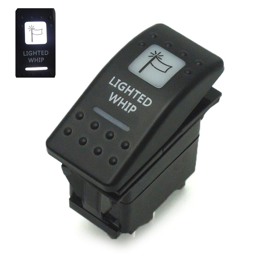 5 Pin LED Lighted Whip Rocker Switch On-Off for UTV ATV Can-Am Polaris Ranger RZR 20A 12V, White Issyzone