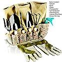Scuddles - Garden Tools Set Herb Gardening Women - 8 PCS Digger Weeder Rake Pruner Shovel Sprayer Gloves And Tote Kit