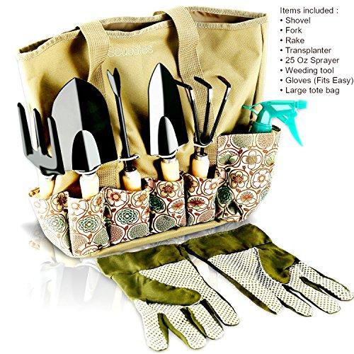 Scuddles - Garden Tools Set Herb Gardening Women - 8 PCS Digger Weeder Rake Pruner Shovel Sprayer Gloves And Tote Kit (Garden Hand Tool Gift Sets)
