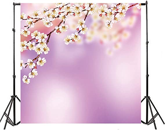 Plum Blossom Branches with Canine Figure with Ornamental Leaves Pattern Background for Baby Shower Bridal Wedding Studio Photography Pictures Multicolor Year of The Dog 10x15 FT Photography Backdrop