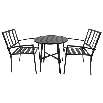 Outsunny Conjuntos de Mesa y 2 Sillas de Jardín Muebles Comedor Exterior Bistro Café Set Jardín