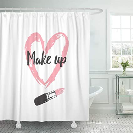 Emvency Shower Curtain Pink Paint Make Up And Beauty Concept Heart Shaped Smear With Lipstick Beige