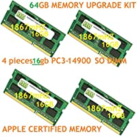 64GB (4 x 16GB) DDR3-1866MHz PC3-14900 SODIMM for Apple iMac 27 Late 2015 Intel Core i7 Quad-Core 4.0GHz MK472LL/A CTO (iMac17,1 Retina 5K Display)