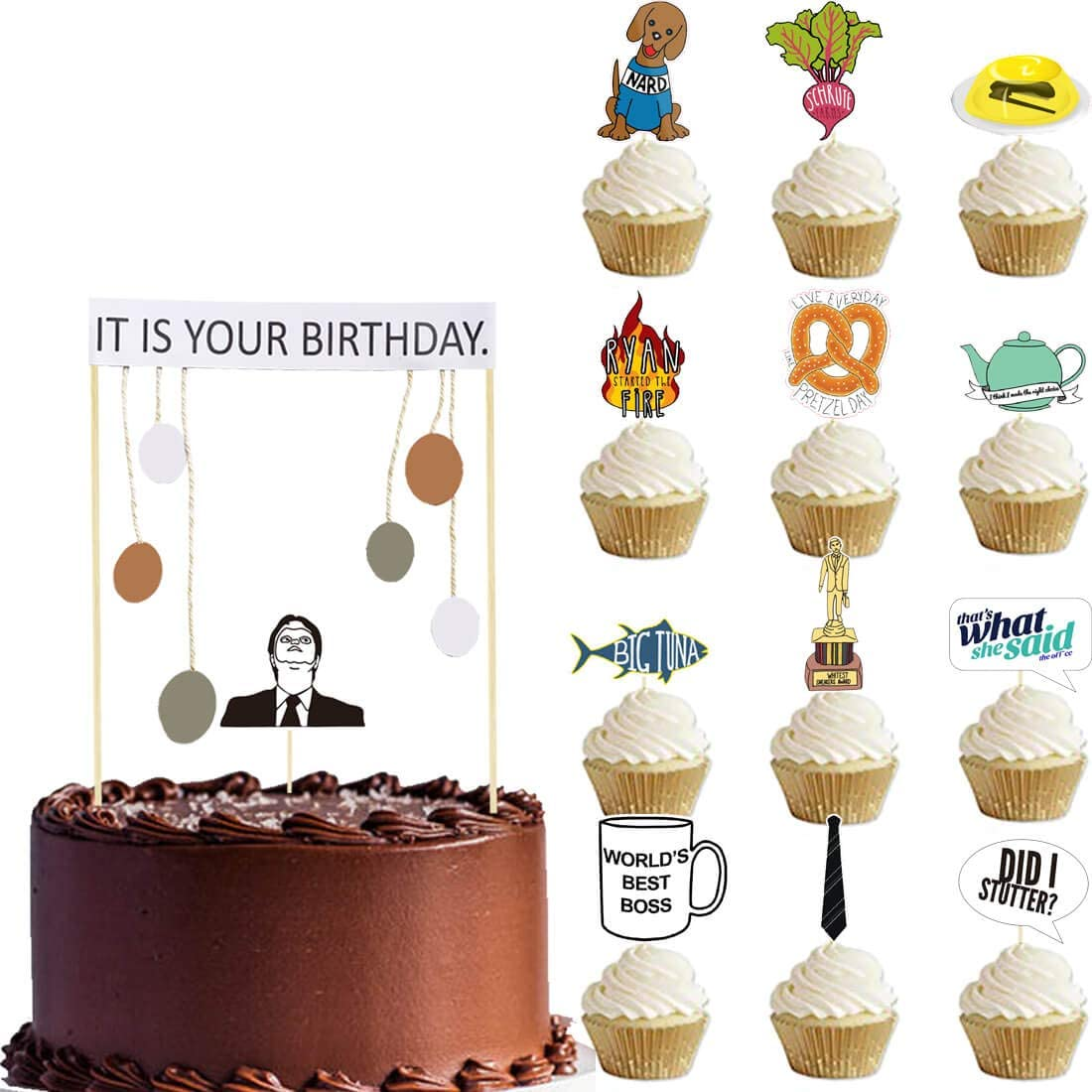 It Is Your Birthday Cake Topper and Cupcake Topper Office Theme Dwight Schrute Birthday Party Supplies Decorations