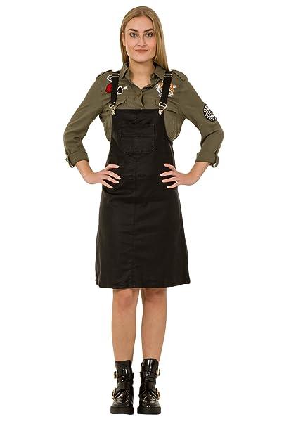 Vestido Dungaree Efecto de Cuero - Negro Peto Falda Penny: Amazon ...