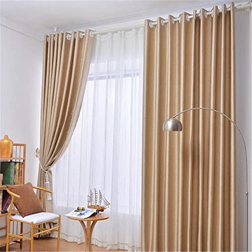 MEILIANJIA High-end Atmospheric Embossing Blackout Thickened Grommet Solid Color Multi Size/Color Environmental Health Curtains 100″ W x 102″ L One Panel ,Golden