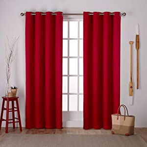 Exclusive Home Curtains Sateen Twill Woven Blackout Grommet Top Curtain Panel Pair, 52x84, Chili, 2 Piece