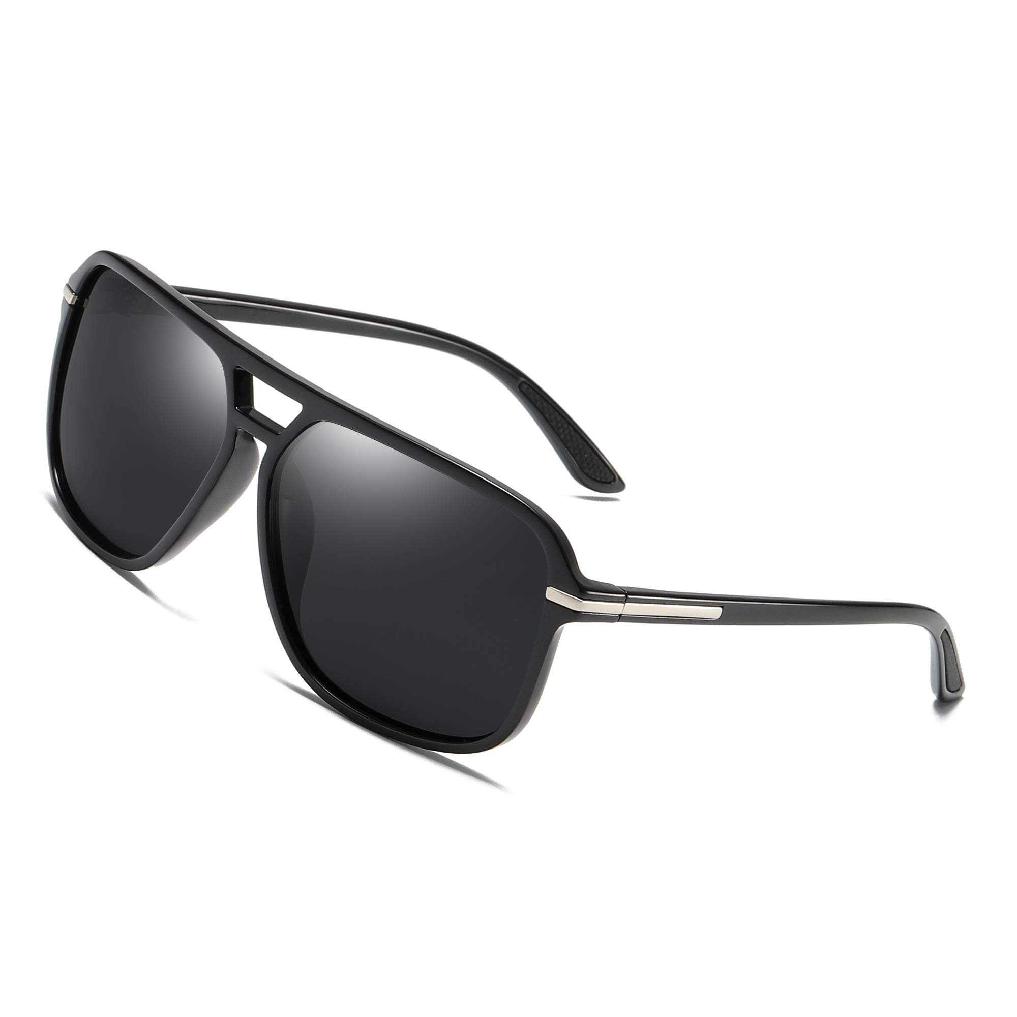 Polarized Sunglasses for Men Aviator Driving Women Mens Sunglasses Rectangular Vintage Sun Glasses (Black Lens (Rubber Coating Ear Pieces)) by GOBIGER