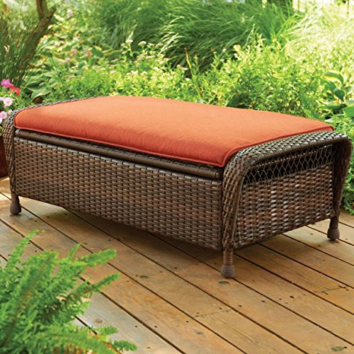 Beautiful Storage Ottoman, Brown, Wicker, Rust-Resistant Steel Frame, Olefin Cushions, Easy to Assemble