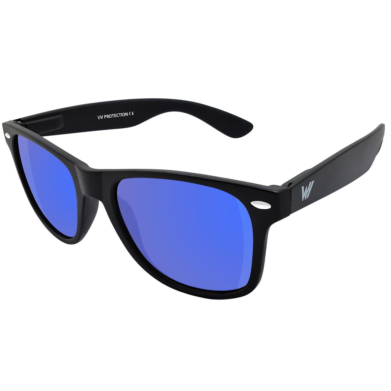WHCREAT Unisex Polarisierte Sonnenbrille Federscharnier Matt Rahmen UV 400 Schutz Linse für Männer Frauen - Matt Schwarz Rahmen Dunkelblau Linse KycGrg6b