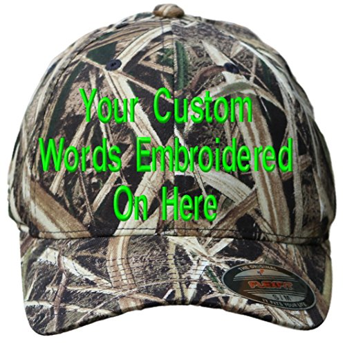 Shadow Hat Embroidered - Custom Hat Flexfit 6977CA Embroidered. Your Own Text Curved Bill (L/XL, 6999 MOSG Mossy Oak Shadow Grass Blades)