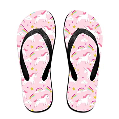 a90f352ac9bda Couple Flip Flops Rainbow Unicon Print Chic Sandals Slipper Rubber Non-Slip  Spa Thong Slippers