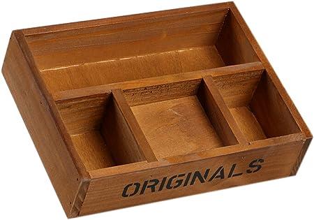 gespout de madera cajas de almacenamiento Retro de almacenamiento de sobremesa cofres Cajas de cuatro rejilla para maquillaje joyas flores, madera, Brown#1, 22*16.8*5.2CM: Amazon.es: Hogar