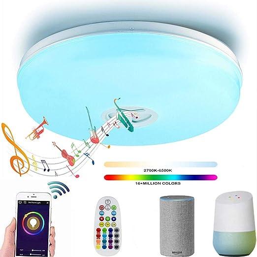Luz de techo LED con altavoz Bluetooth, lámpara de techo ...