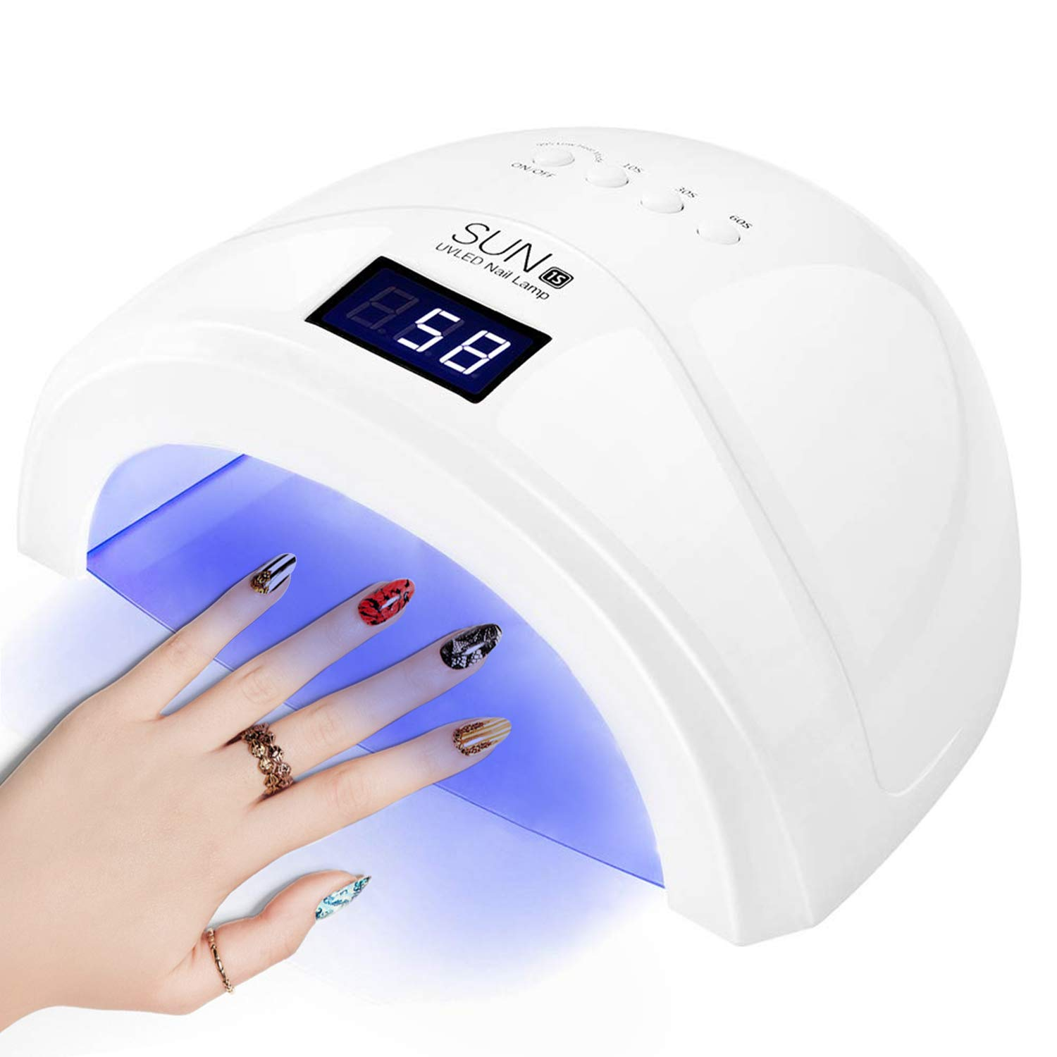 LED UV Nail Lamp 48W Nail Dryer for Gel Polish with 4 Timer Settings Automatic Sensor, Art Professional