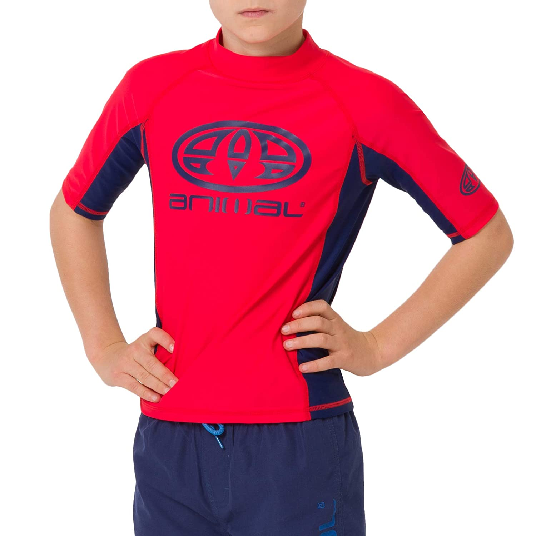 Animal Junior Boys Hiltern Short Sleeve Rash Vest Top Tomato Red CL9SQ610 UPF 50+ Slim fit GSM: 190 Polyamide//Elastane