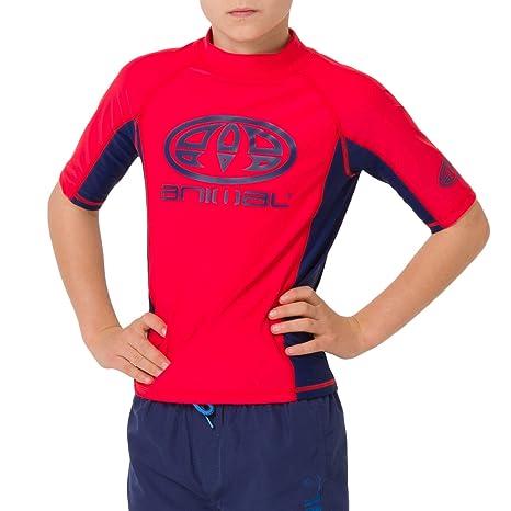 95caa6b3cd Animal Boys Kids Hiltern Swimming Rash Vest - Tomato Red - 15TO16Y