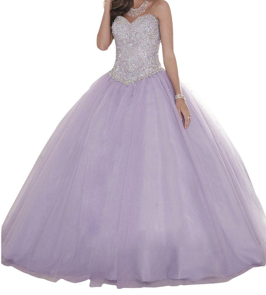 BoShi Women's Crysta Bridal Evening Gowns Wedding Celebrity Quinceanera Dresses 16 US Light Purple