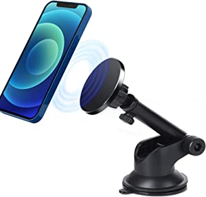 Magnetic Phone Car Holder for iPhone 12 Series, Car Phone Holder Mount with Magsafe, for Magsafe Car Mount for Dashboard/Windshield with Suction Cup and Adjustable Arm