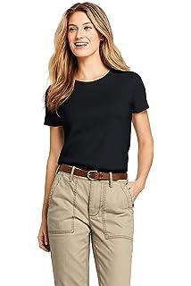 fe9260b6fa064b Lands' End Women's Relaxed Short Sleeve T-Shirt Supima Cotton V-Neck ...