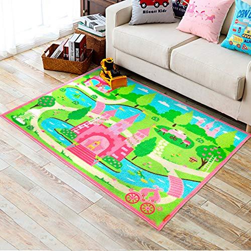 FADFAY Home Textile,Cartoon Castle Girls Bedroom Rugs,Delicate Little Flowers Bedroom Floor Rugs,Cute Colorful Cartoon Kids Living Room ()