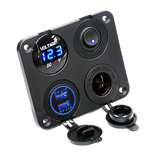 Amazon.com: Cllena Dual USB Socket Charger 2.1A&2.1A + LED Voltmeter on 12v batteries diagram, 12v battery switch diagram, 12v trailer wiring, 12v boat horn, 12v boat lights, 12v boat accessories, 12v boat motor,