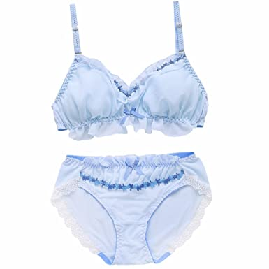 f0328b716b8 TOMORI Womens Cute Bra and Pantie Set Elegant Embroidery Bralette Chiffon  Ruffle Lingerie (M