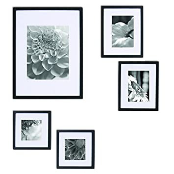 Amazoncom Gallery Perfect 5 Piece Black Wood Photo Frame Gallery