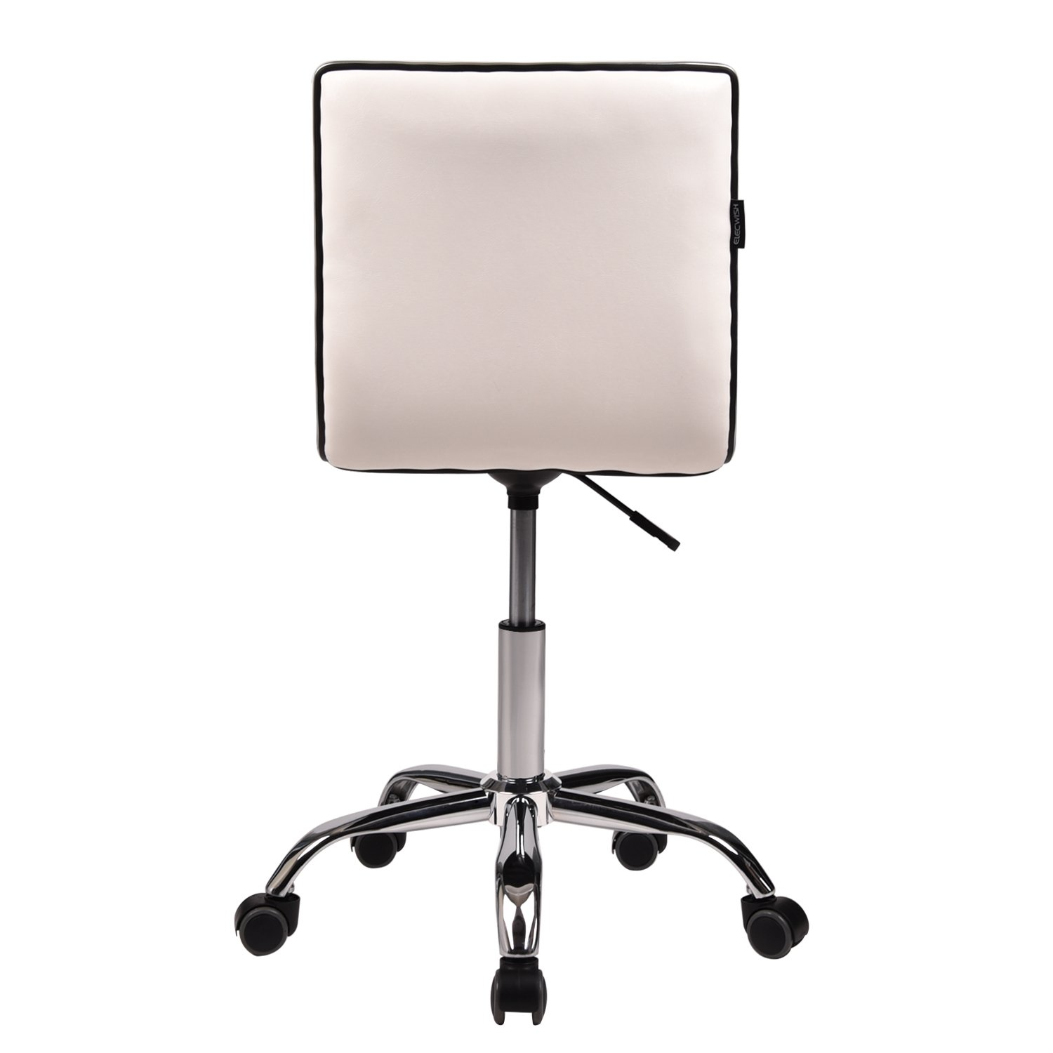 Set of 2 Office Task Chairs Mid-Back Armless Ribbed PU Leather Swivel Conference Chair Black