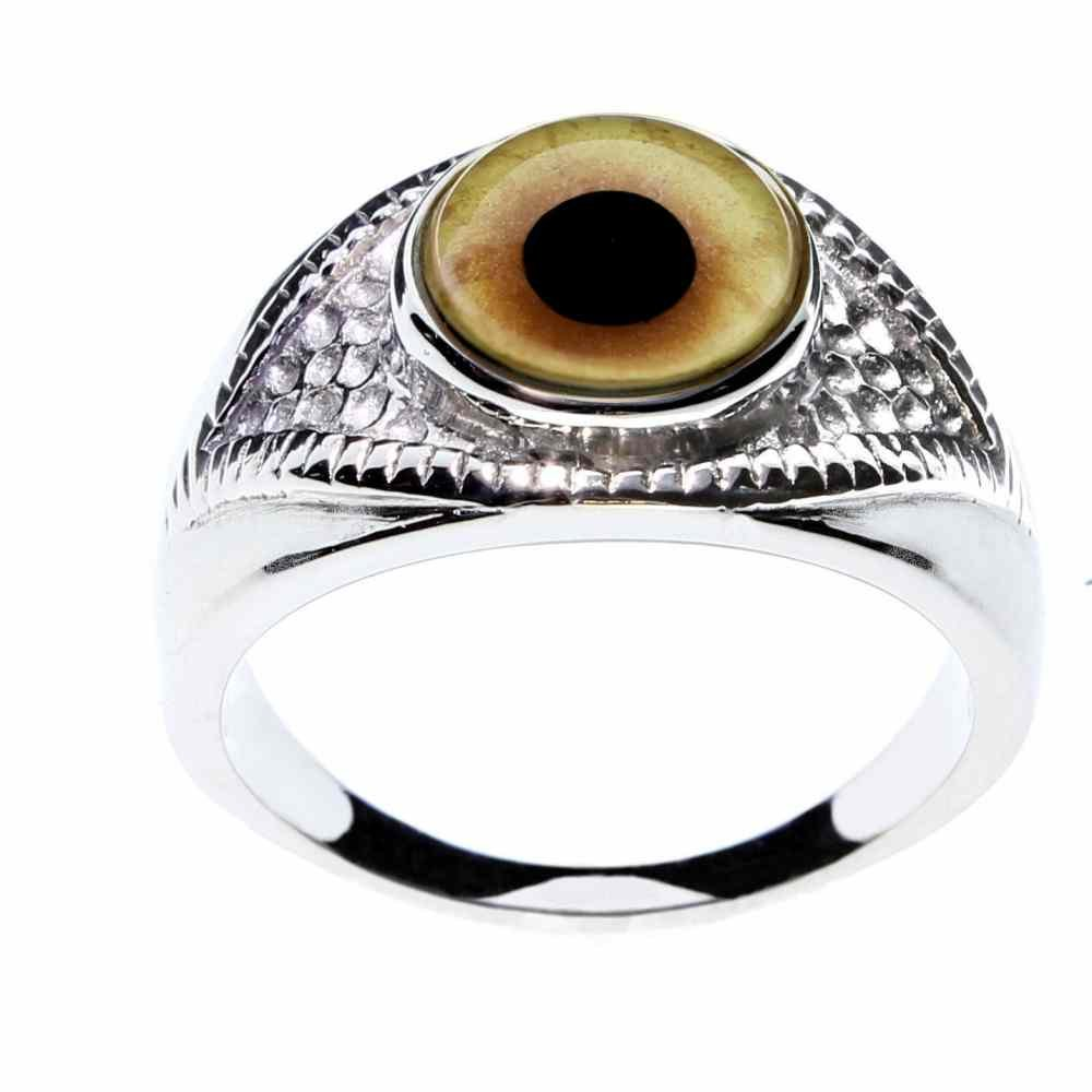Steel Dragon Jewelry Exotic Wolf-Werewolf Glass Eye Ring for Men and Women in a Unique Eye-Shaped Stainless Steel Setting; Extraordinary Jewelry for Extraordinary People by (Wolf-Werewolf 8)