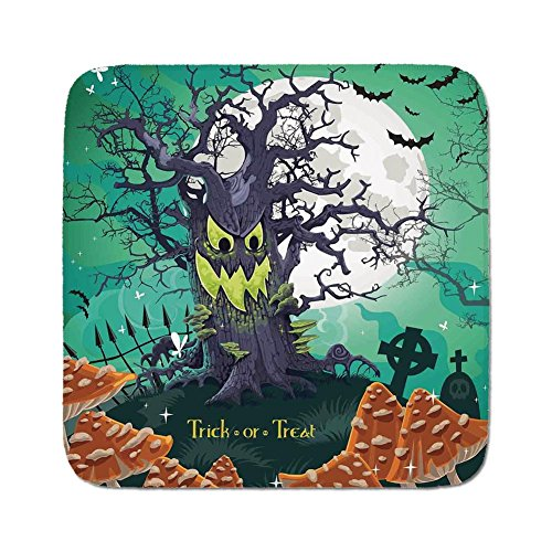 Cozy Seat Protector Pads Cushion Area Rug,Halloween Decorations,Trick or Treat Dead Forest with Spooky Tree Graves Big Kids Cartoon Art,Multi,Easy to Use on Any Surface