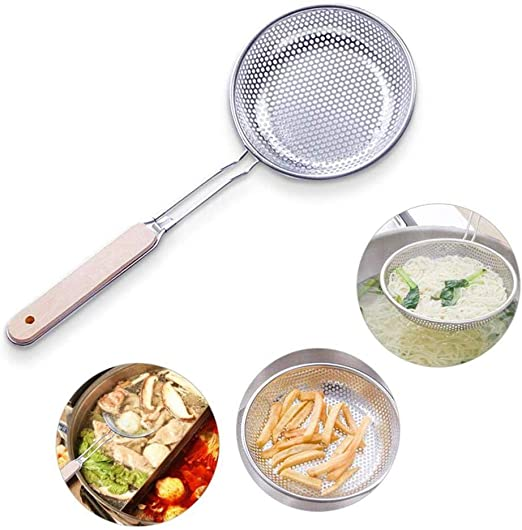 TXIN 3 Pieces Stainless Steel Colander Spoon Fine Mesh Filter Skimmer Strainer Spoon