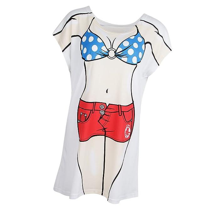 1468c0383d Prettyia Stylish Ladies Muscle Man Bikini Printed Dress Beach Tunic Top Hen  Stag Party T Shirt