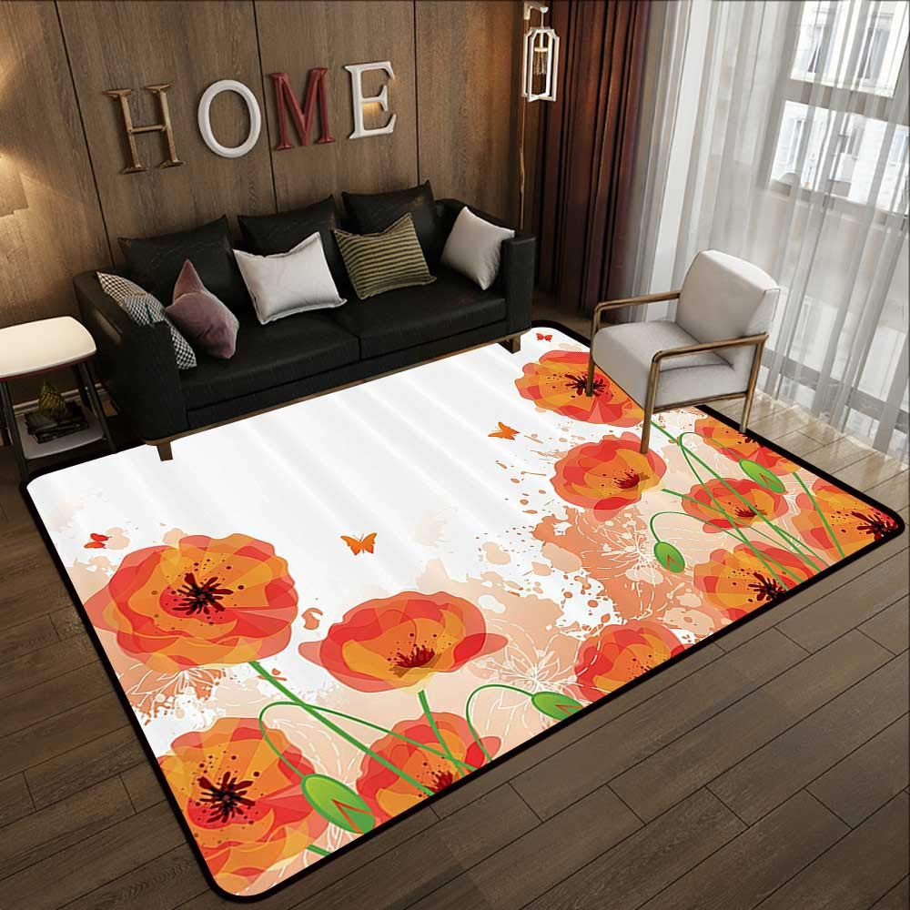 Pattern10 71 x 81.5 (W180cm x L210cm) All Weather Floor mats,Poppy Decor,colorful Combined Mixed Poppy Flower Petals Pattern Spring Garden Theme Paint Effect Style,bluee Red 63 x 94  Multi-USE Floor MAT
