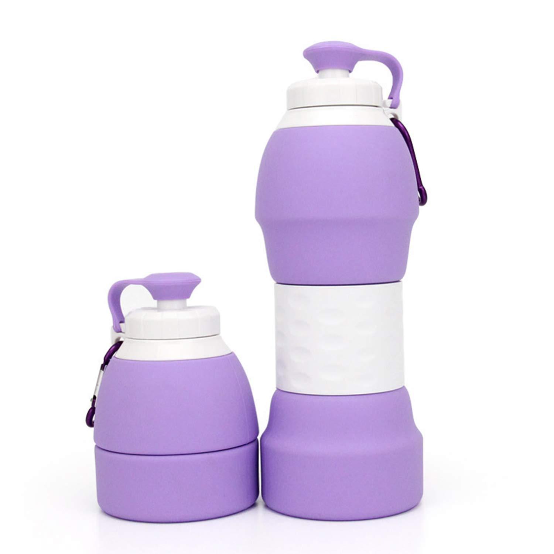 guaziv折りたたみ式折りたたみ可能な水ボトル、シリコン製アンチ漏れを漏れ防止子供と大人水ボトル折り畳み式旅行アウトドアスポーツライトWightポータブルBPAフリー医療食品グレード B07FD72L3L パープル