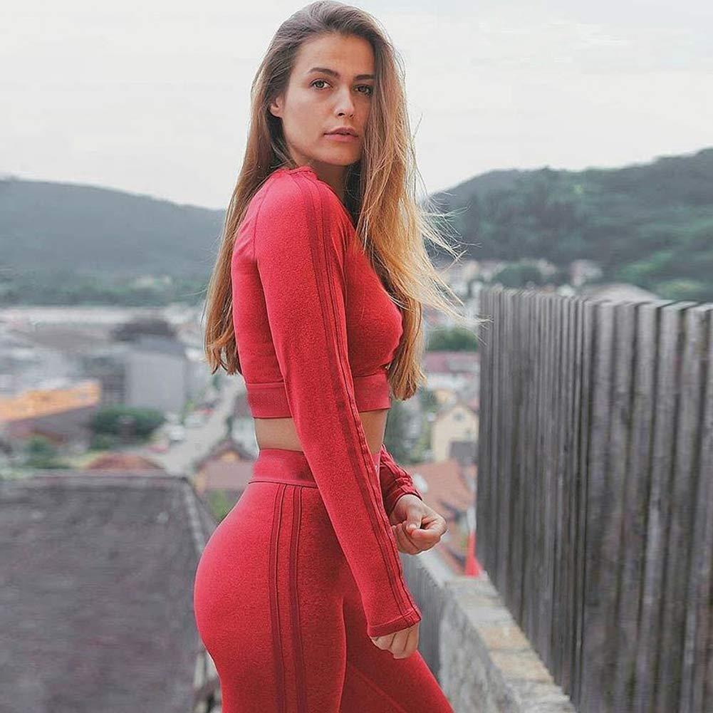 Corsa Asciugatura Rapida Tinta Unita Pantaloni da Yoga Donna Tuta Sportiva Top Breve Paragrafo a Maniche Lunghe Set Due Pezzi XYAIPR Tuta Fitness Abbigliamento da Yoga,Red,S