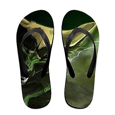 Couple Flip Flops Cartoon Wolf Print Chic Sandals Slipper Rubber Non-Slip Beach Thong Slippers