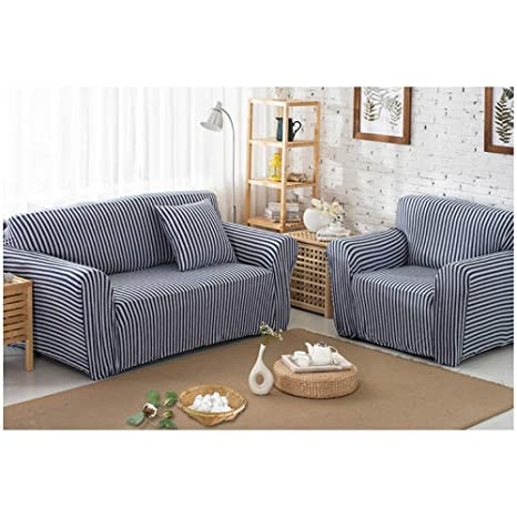 Amazon.com: Funda de sofá de alta elasticidad a rayas para ...