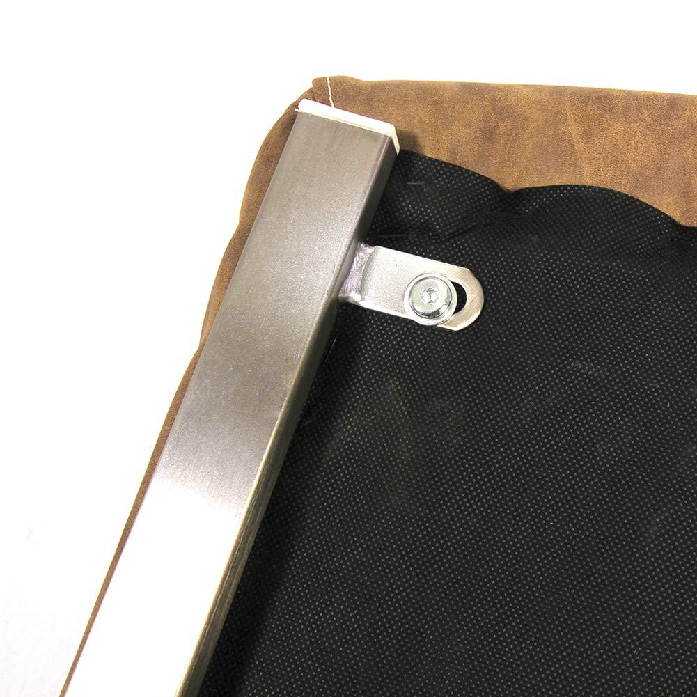 Ambiendi 2er Set Set Set Esszimmerstühle Schwingstuhl Vintage PU Auge Gebürsteter Edelstahl Freischwinger Stühle (Hellbraun) 732f14