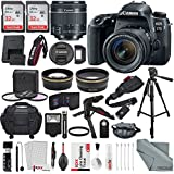 Canon EOS Rebel 77D DSLR Camera with EF-S 18-55mm f/4-5.6 Lens and 2X Professional 32GB, 58mm Telephoto & Wide-Angle Lens, Filters, Tripods, Straps, Flash, Remote, Xpix Lens Accessories