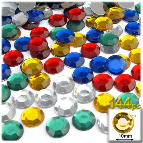 The Crafts Outlet 144-Piece Round Rhinestones, 10mm, Multi Assortment