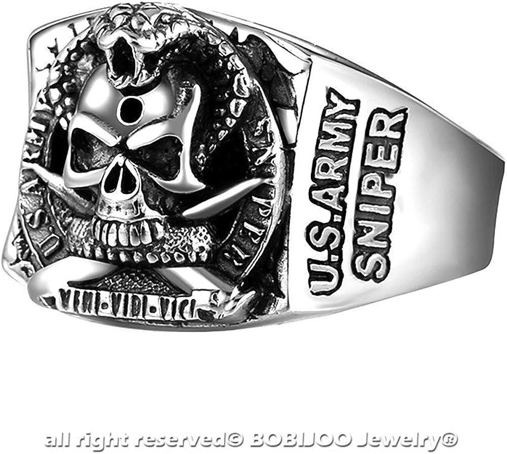 BOBIJOO Jewelry Bague Chevali/ère Homme T/ête de Mort Skull U.S Army Sniper Acier Veni Vidi Vici