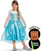 Girls Frozen Elsa Deluxe Costume Halloween Trick or Treat Safety Kit