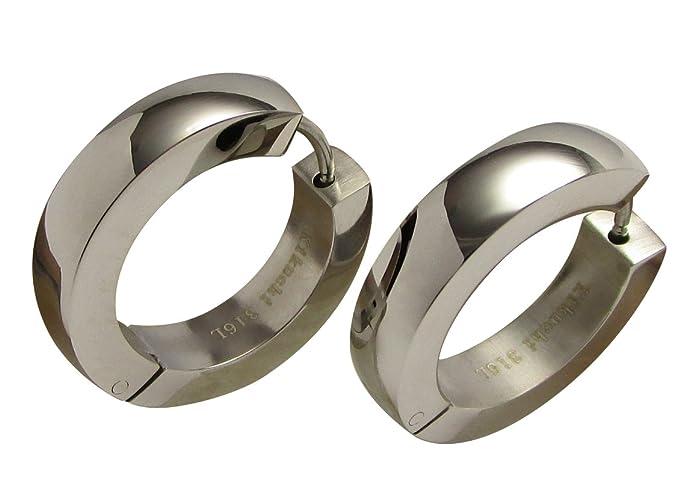 Edelstahl Creolen Herren Damen Ohrringe 22mm Ø XL silber Hochglänzend Hoop