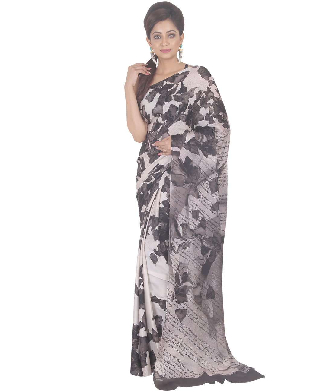 Indian Ethnic Crepe White And Black Printed Saree