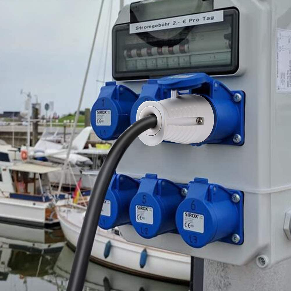 IP44 Set manguera flexible de goma para Camper Camping Marine Boat Cable de alimentaci/ón Yacht caravana el/éctrica Camper Camper al aire libre 3 pines Cable adaptador CEE 400 V 230 V 16 A