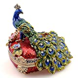 Heart Shaped Crystal Jeweled Peacock Trinket & Jewelry Box Keepsake Pewter Animal Collectible Gifts